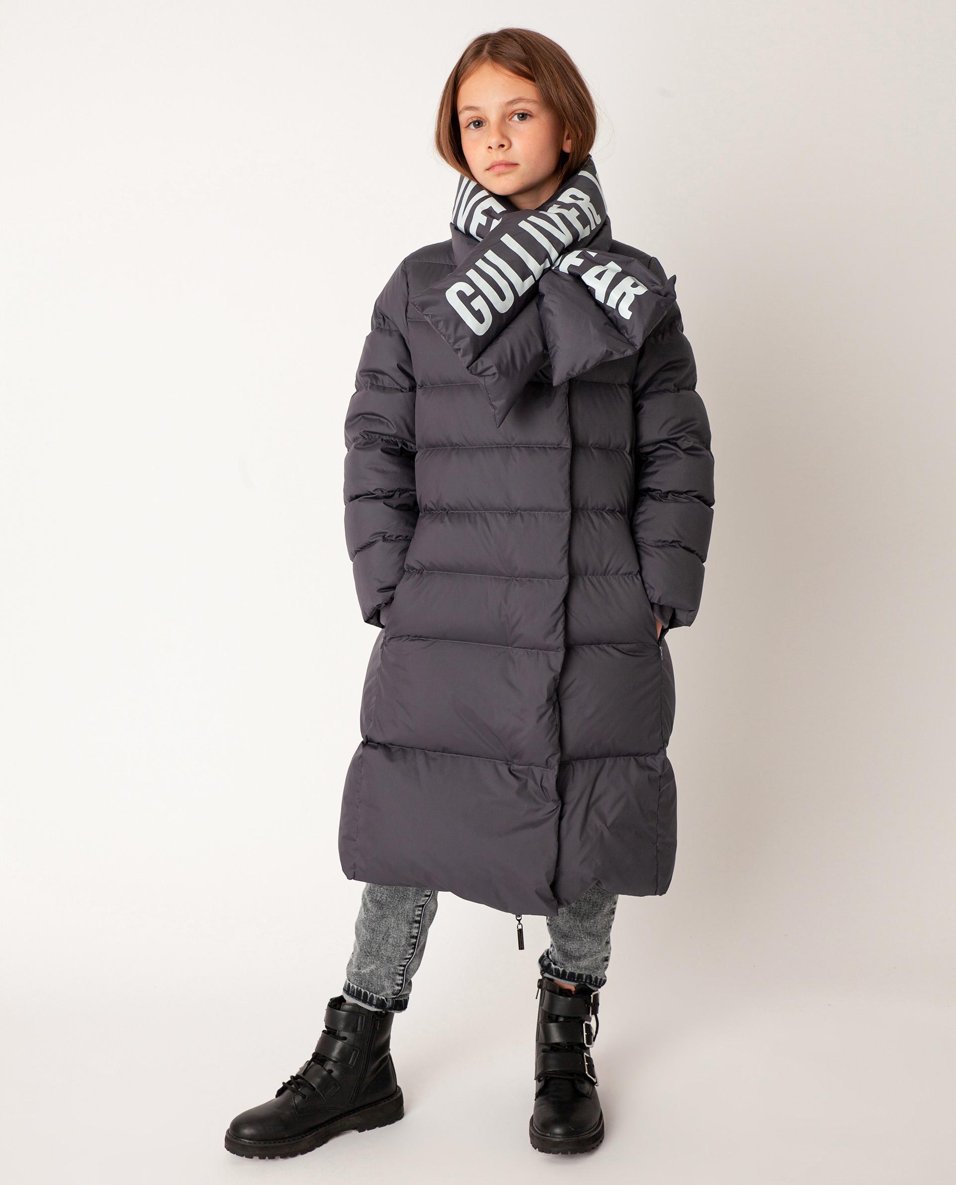 Серое пальто зимнее Gulliver размер 146 22008GJC4511