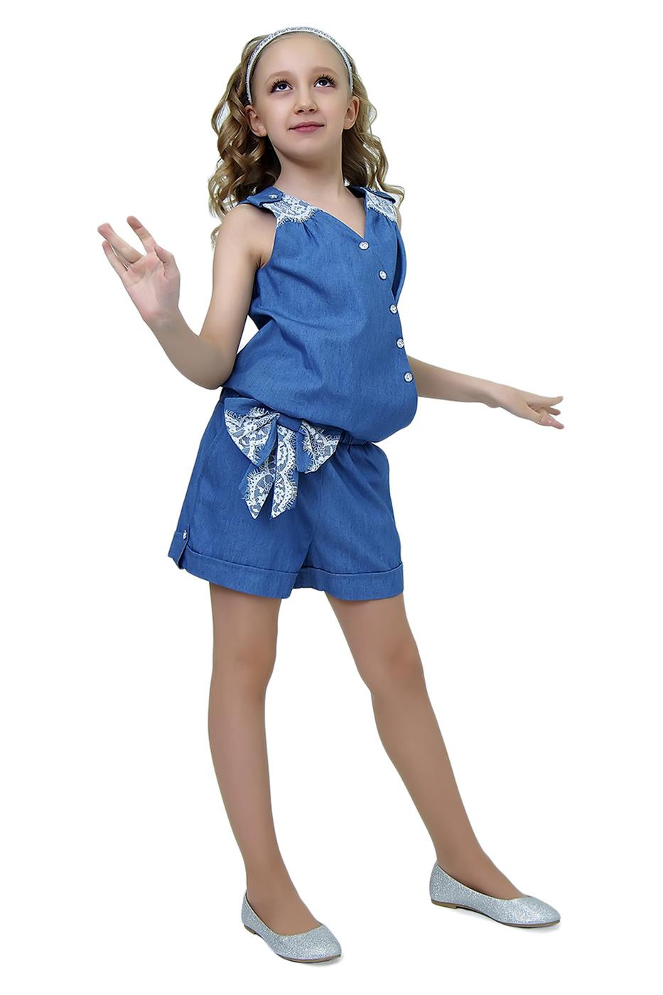 2К12-2, Комбинезон детский Ladetto, цв. голубой, р-р 134, Повседневные комбинезоны для девочек  - купить со скидкой