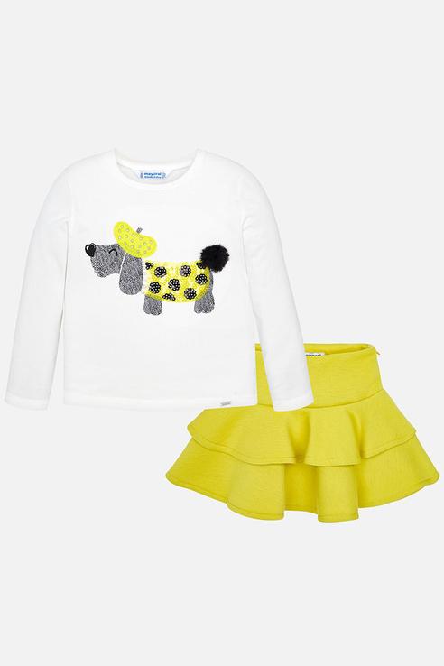 Купить 4950, Юбка и лонгслив для девочки Mayoral, цв.желтый, р-р 116, Детские костюмы