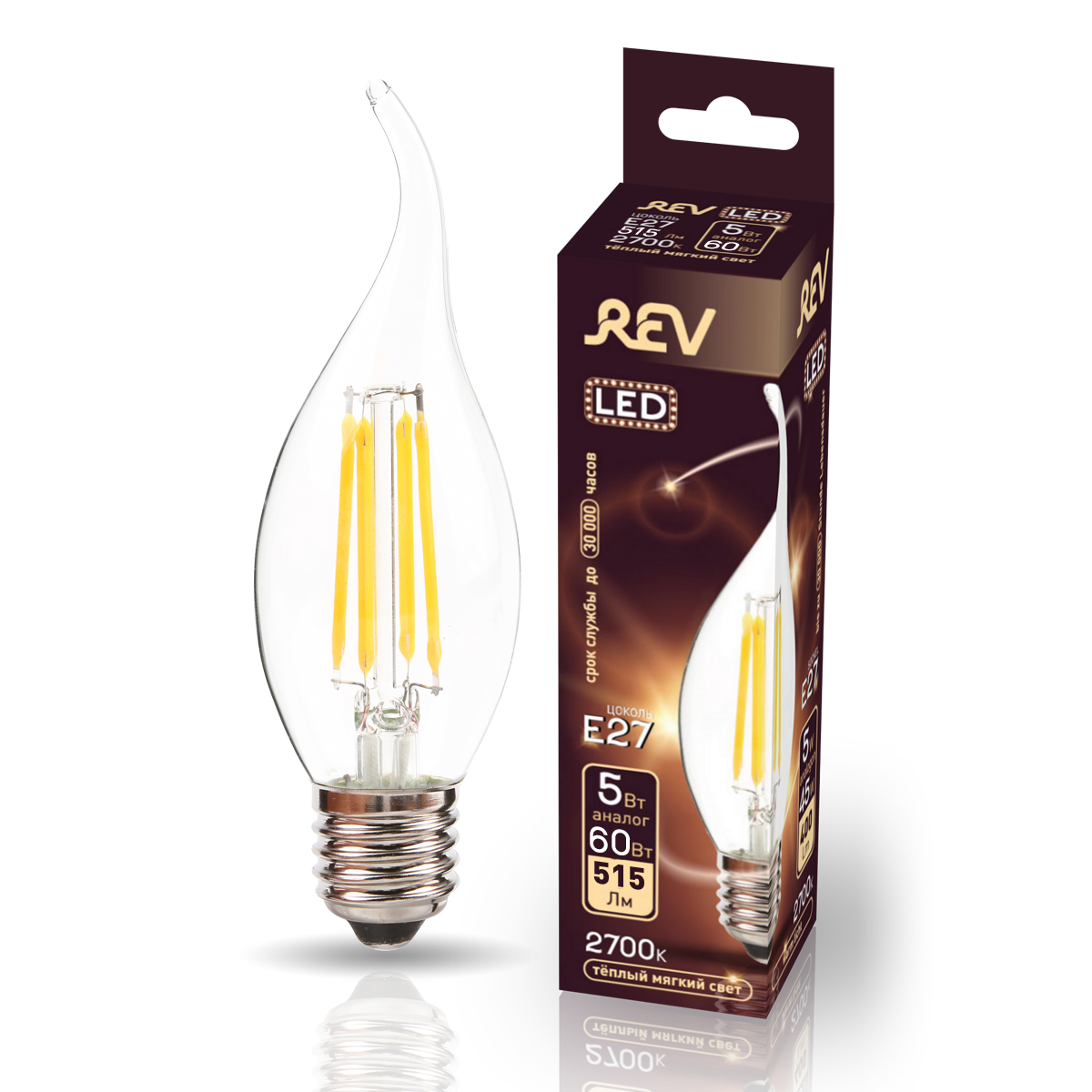 Лампа светодиодная REV FILAMENT FC37 E27