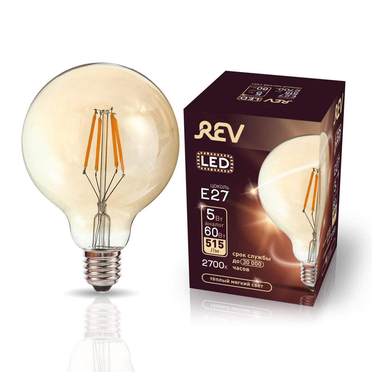Лампа светодиодная REV VINTAGE Filament шар