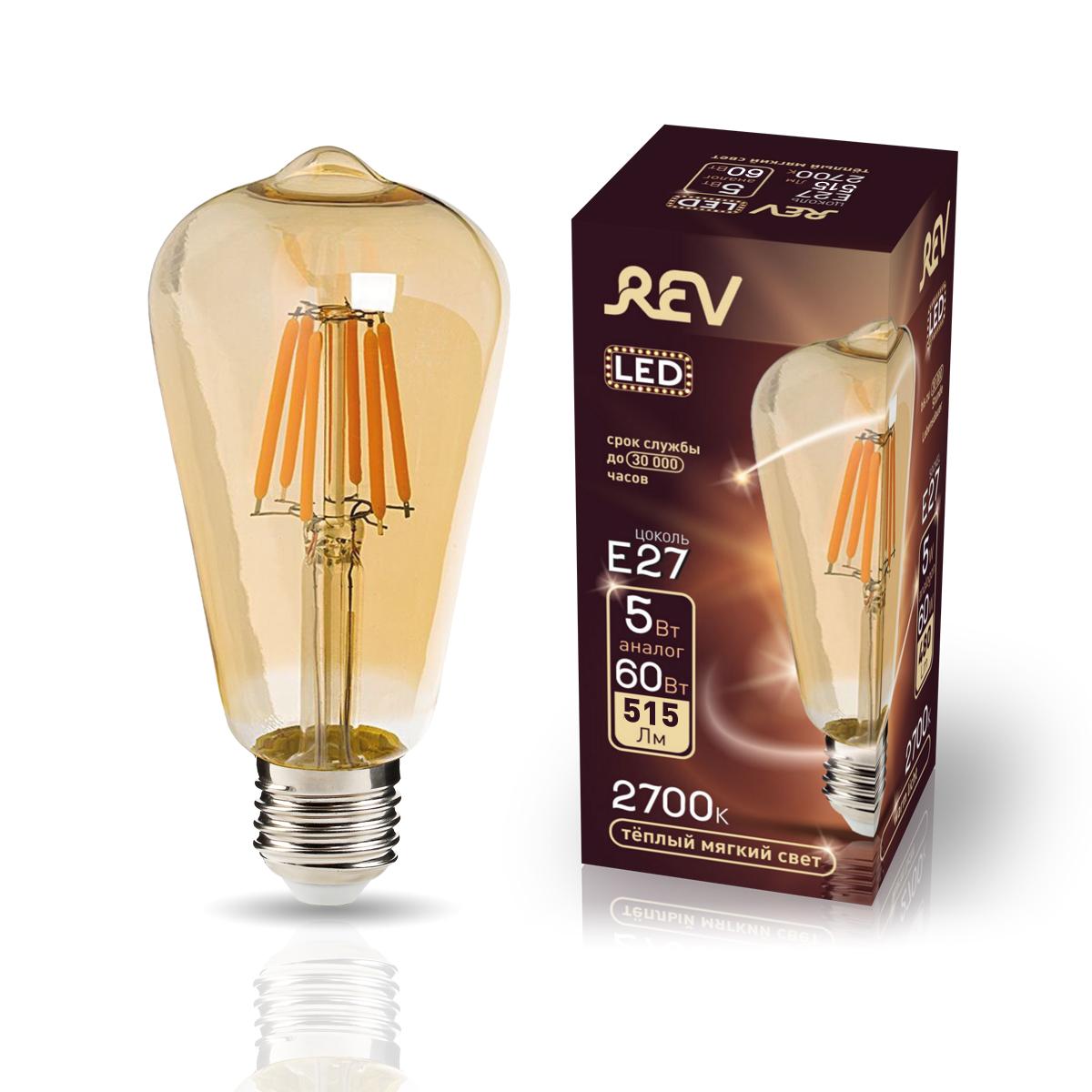 Лампа светодиодная REV VINTAGE Filament ST64
