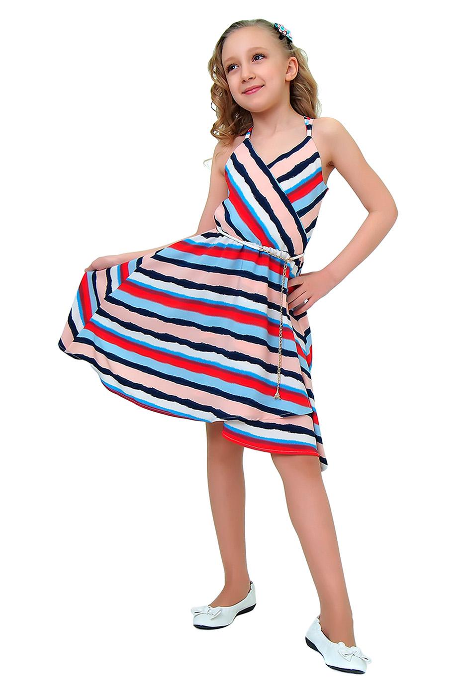 Купить 2Л16-6, Платье детское Ladetto, цв. серый, р-р 134, Платья для девочек