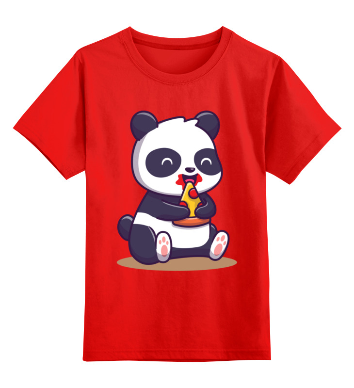 Купить 0000003505735, Детская футболка Printio Панда цв.красный р.104,