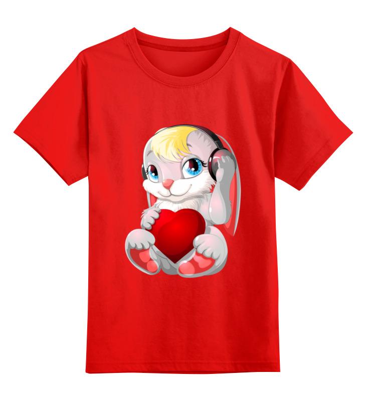 0000003508725, Детская футболка Printio Зайка цв.красный р.104,  - купить со скидкой