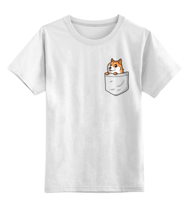 Купить 0000003512315, Детская футболка Printio Корги цв.белый р.104,