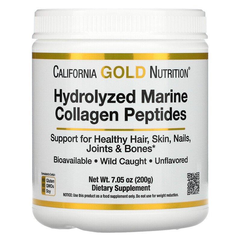 Купить Hydrolyzed Marine Collagen Peptides California Gold Nutrition 200 г