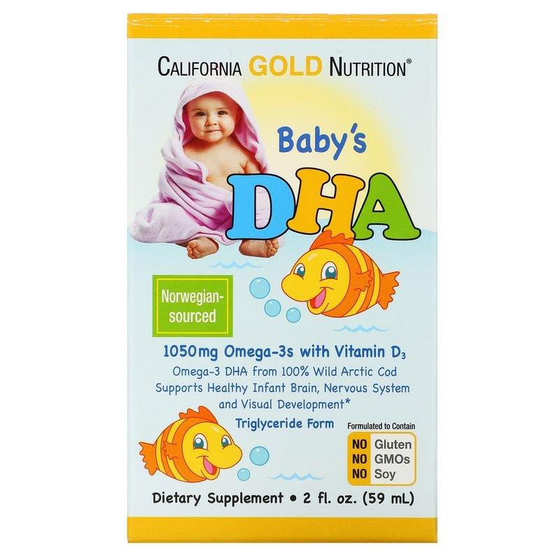 CGN-00871, ДГК для детей California Gold Nutrition 1050 мг Омега-3 с витамином D3 59 мл  - купить со скидкой