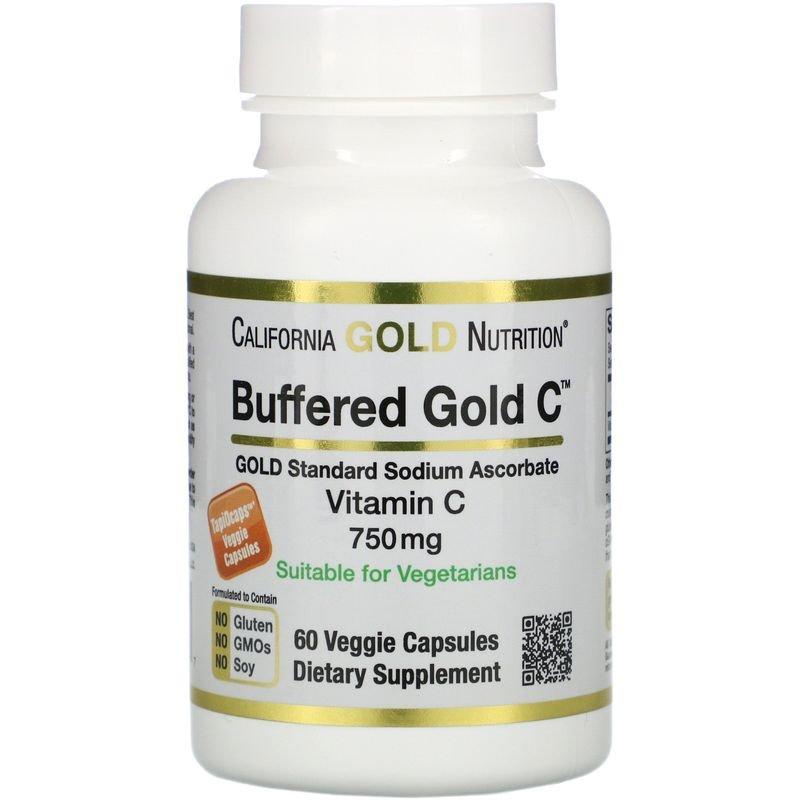 CGN-01236, Буферизованный витамин C California Gold Nutrition 750 мг растительные капсулы 60 шт.  - купить со скидкой