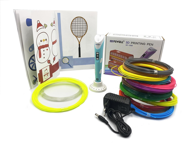 Купить 3D ручка Myriwell RP100B + 220 м пластика (20 цветов, светящийся, прозрачный) + книжка с трафаретами (40 штук) + термоковрик + подставка. Цвет: голубой, 3D ручка Myriwell RP100B 220 м пластика+книжка с трафаретами+термоковрик+подставка, голубой,