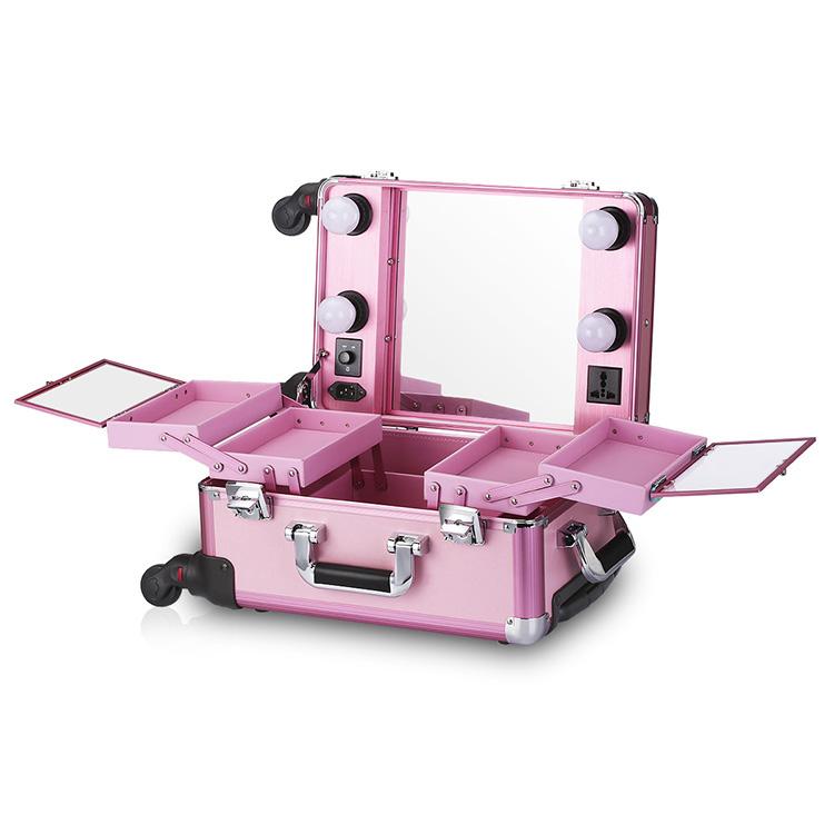 Мобильная студия визажиста без ножек розовая Okira LC006