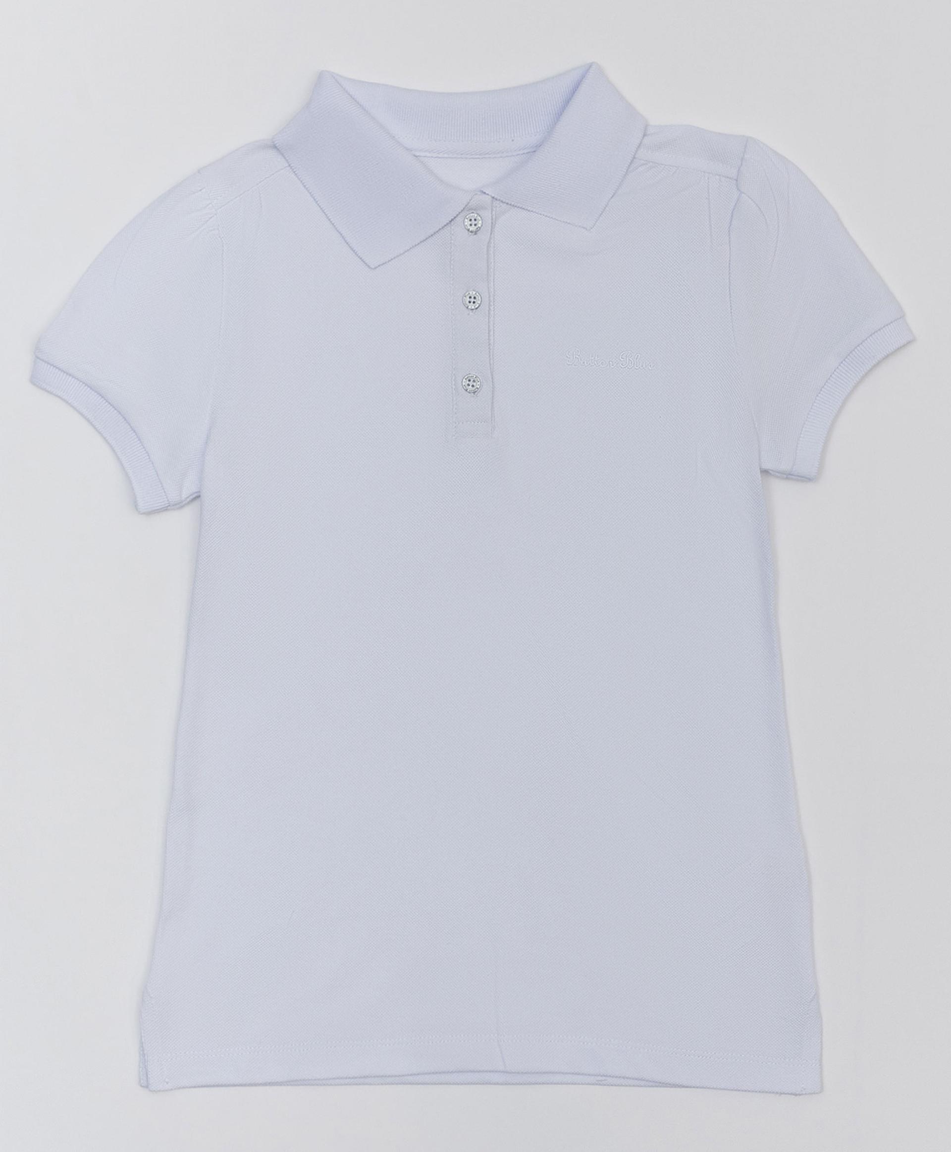 Белое поло с коротким рукавом BUTTON BLUE