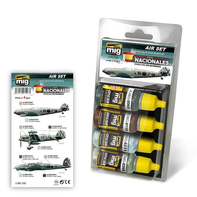 Купить Набор акриловых красок Ammo Mig SPANISH CIVIL WAR - NATIONALISTS AIRCRAFTS SET AMIG7226,