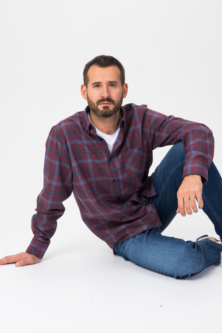 Рубашка мужская F5 7326 бордовая 48