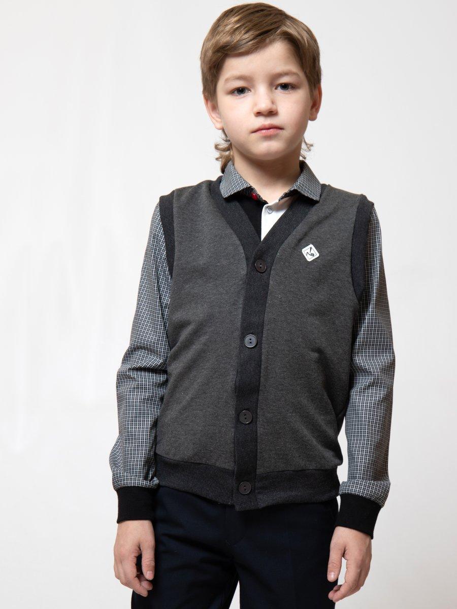 Жилет прямого силуэта для мальчика Nota Bene (цвет: темно-серый, рост 122 см)