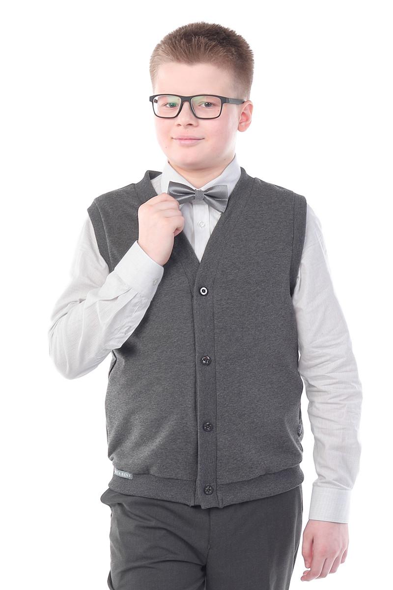 Жилет прямого силуэта для мальчика Nota Bene (цвет: темно-серый, размер 152)