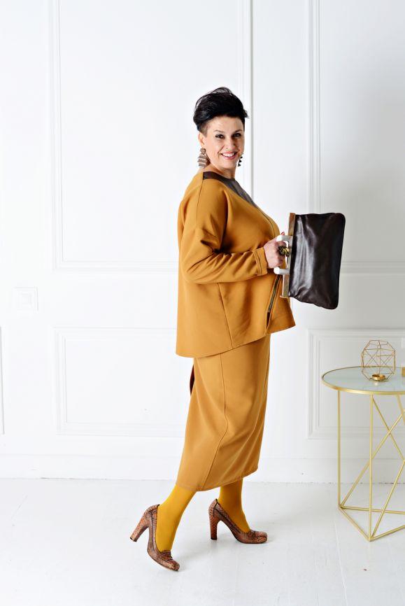 Юбка женская Миллена Шарм OverSize 46531 оранжевая 52 RU фото