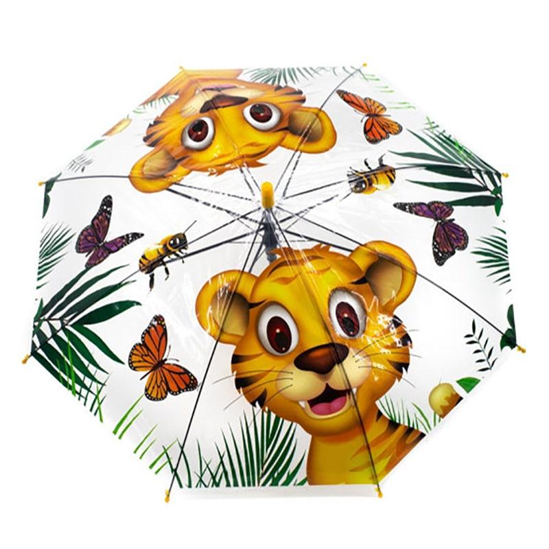 Зонт трость Diniya «Мультфильм» прозрачный, тигренок UM0021A