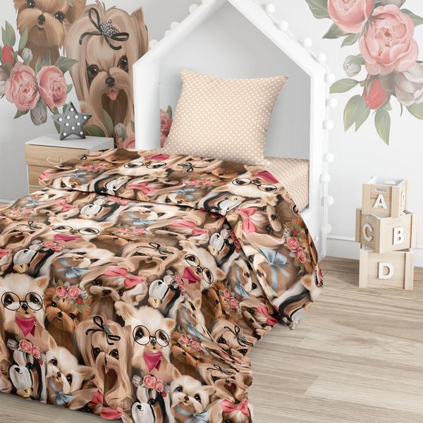 Купить Комплект постельного белья Тейковский ХБК Juno (70х70) Собачки 1, 5-спальный,