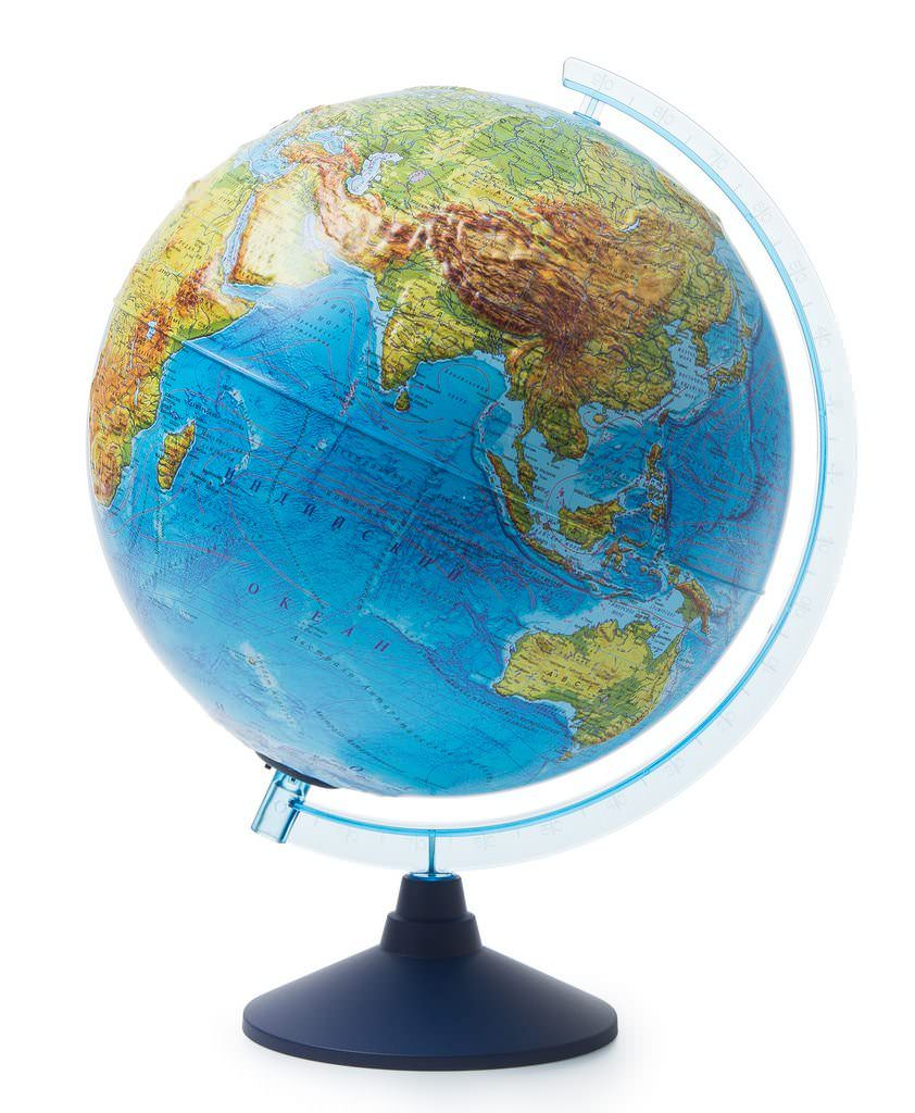 Физико-политический глобус рельефный d=32 см с подсветкой от батареек