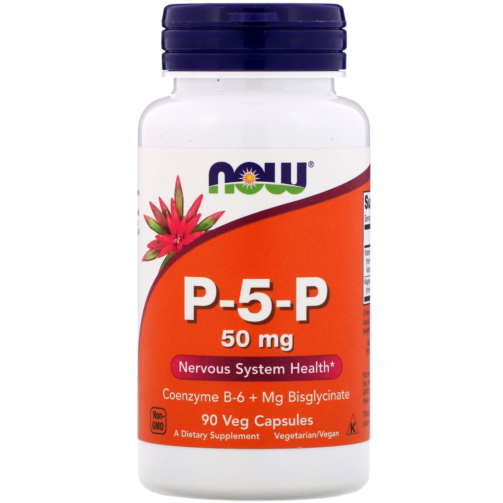 Купить Магний + В6 в биодоступной форме P-5-P, Витамины для нервов NOW магний + В6 в биодоступной форме P-5-P 50 мг капсулы 90 шт.