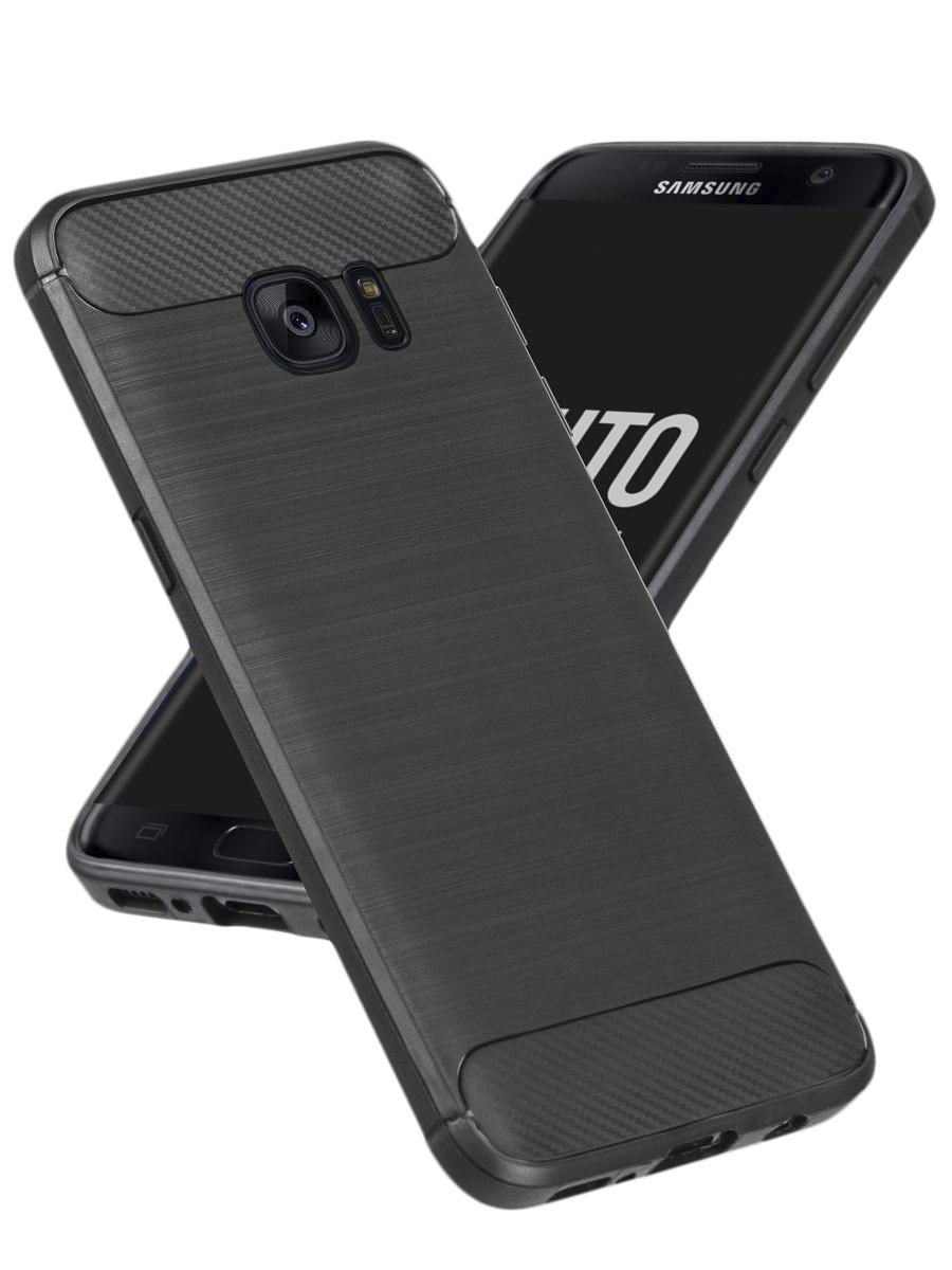 Чехол для Samsung Galaxy S7 . Накладка - бампер на Самсунг Галакси С7 Carbon Design , With Love. Moscow  - купить со скидкой