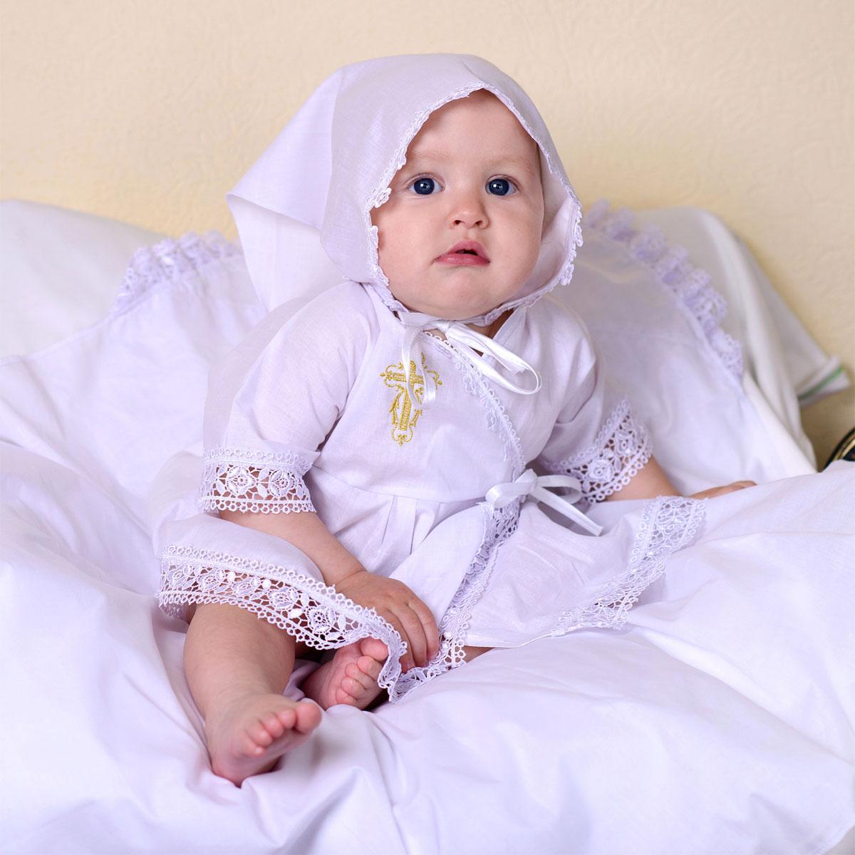 Купить 1309, Крестильный набор для девочки Папитто, вышивка золото, размер 22, рост 68-74 см,
