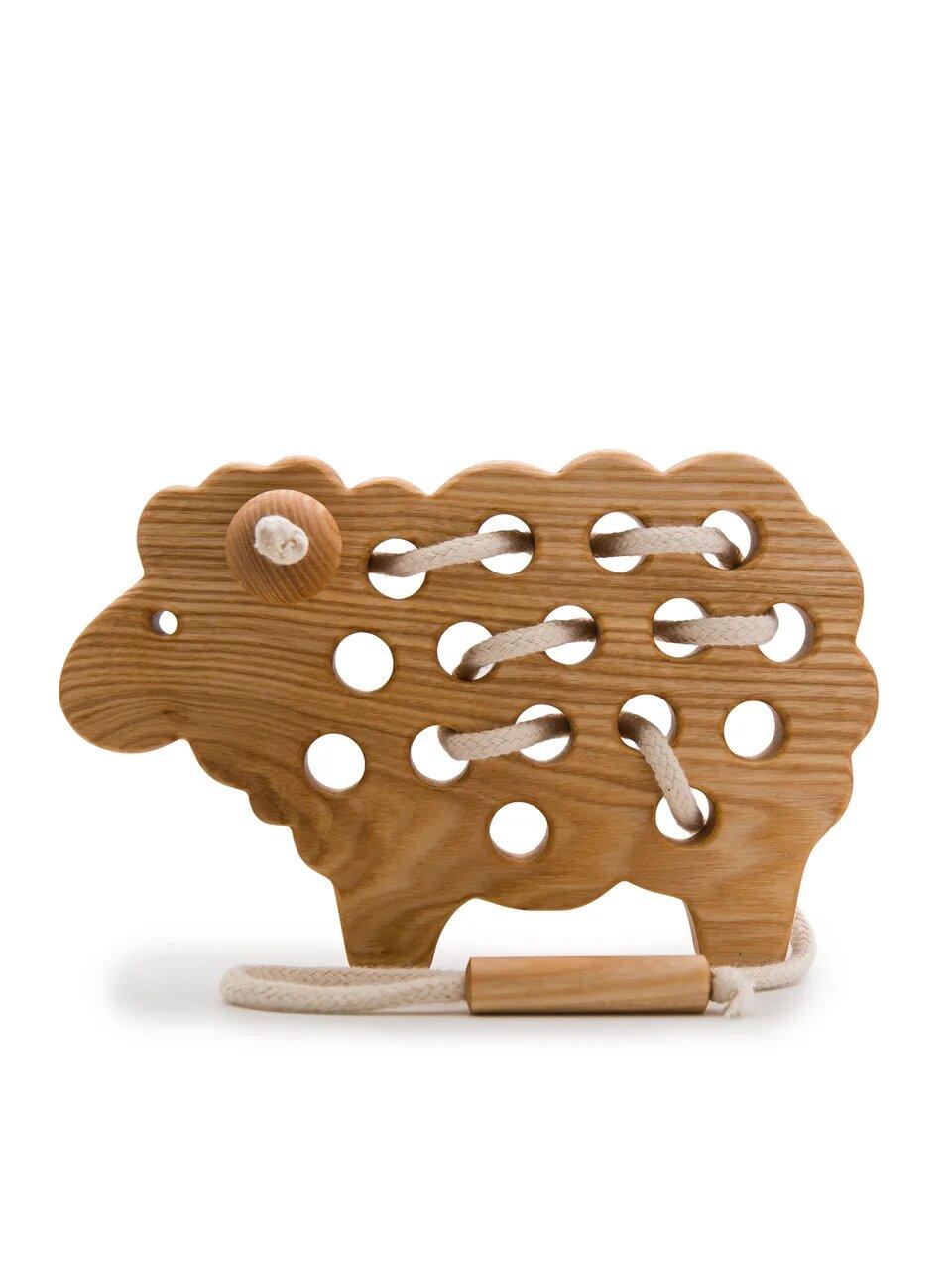 Игрушка-Шнуровка ЭКО Овечка из массива дуба Rodent kids