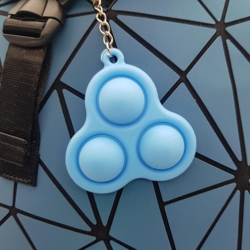 Игрушка-антистресс брелок Pop It для ключей и рюкзака бесконечная пупырка, спиннер голубой