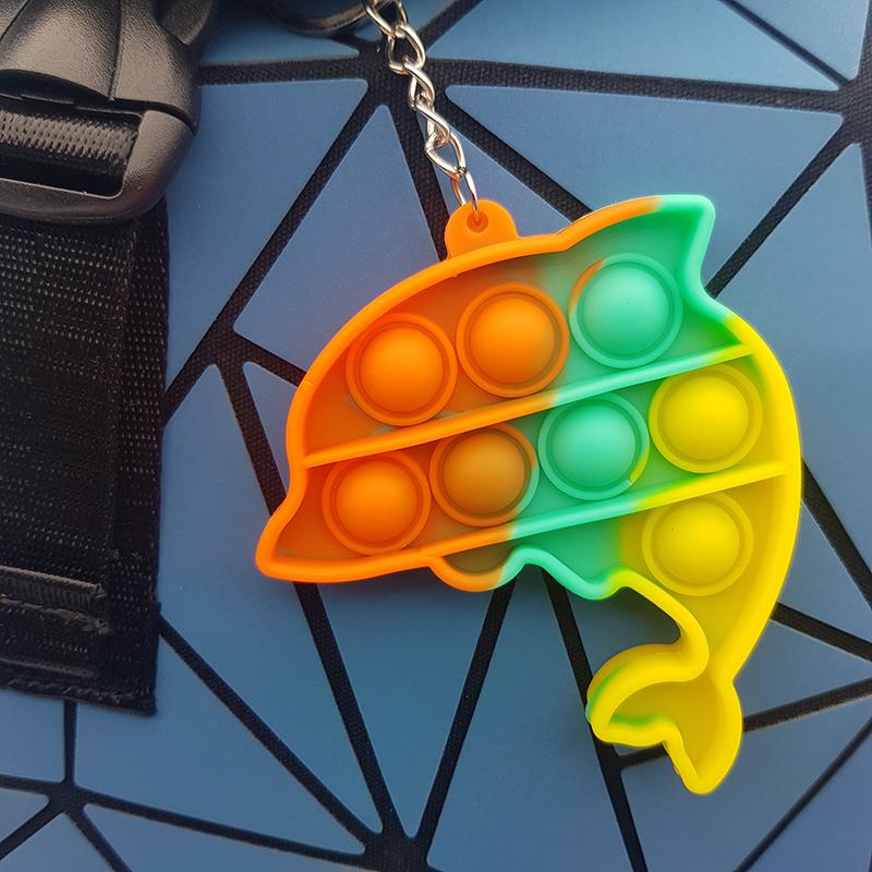 Игрушка-антистресс брелок Pop It для ключей и рюкзака бесконечная пупырка, дельфинчик