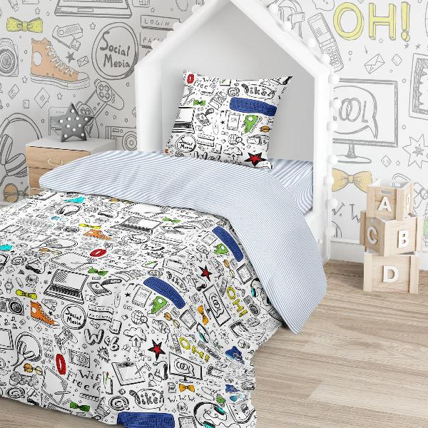 Купить Комплект постельного белья Тейковский ХБК Juno (70х70) Скетч 1, 5-спальный,