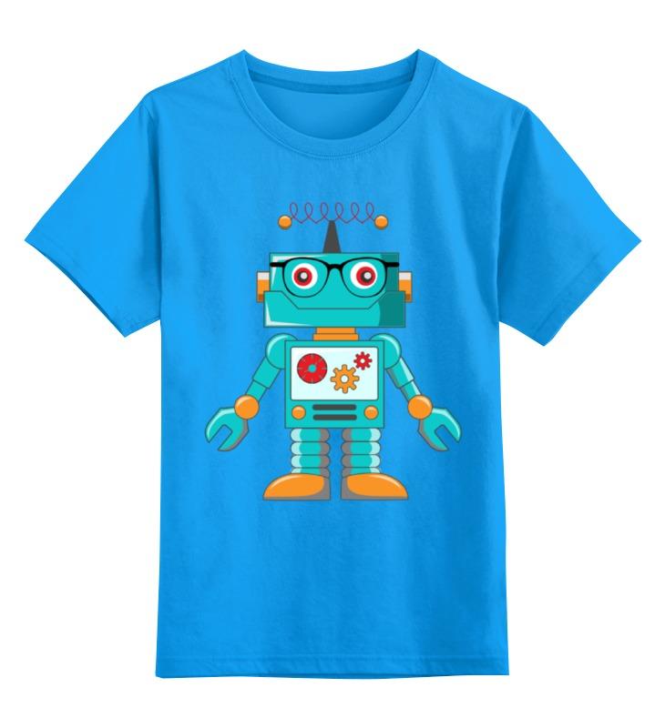 Купить 0000001729085, Детская футболка Printio Робот цв.голубой р.104,