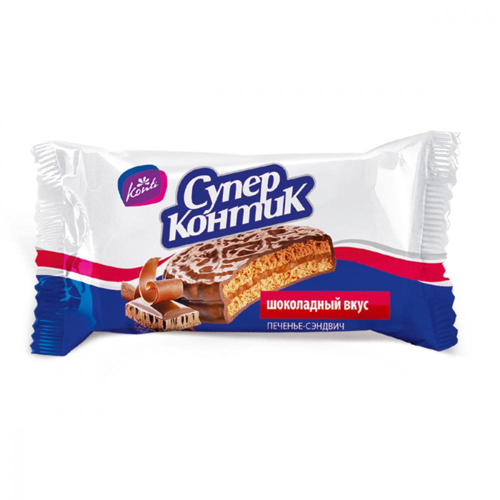 """Печенье-сэндвич Konti """"Супер Контик"""", шоколадный вкус, 50 шт. по 100 г"""