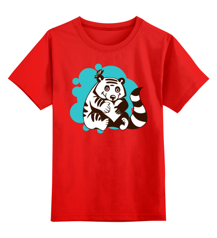 Купить 0000002174427, Детская футболка Printio Енотик цв.красный р.104,