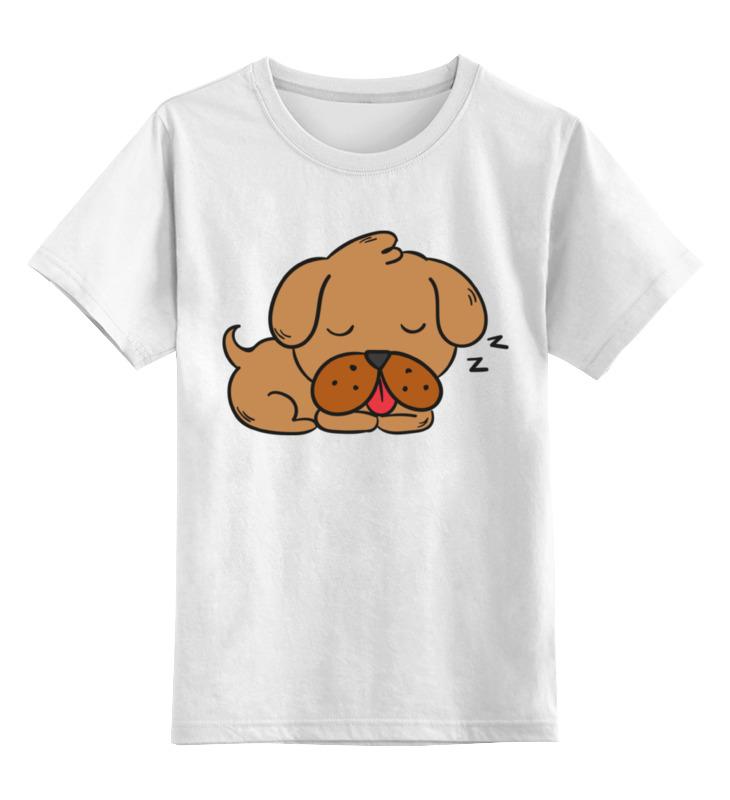 Детская футболка Printio Спящий щенок цв.белый р.104 0000002279448 по цене 790