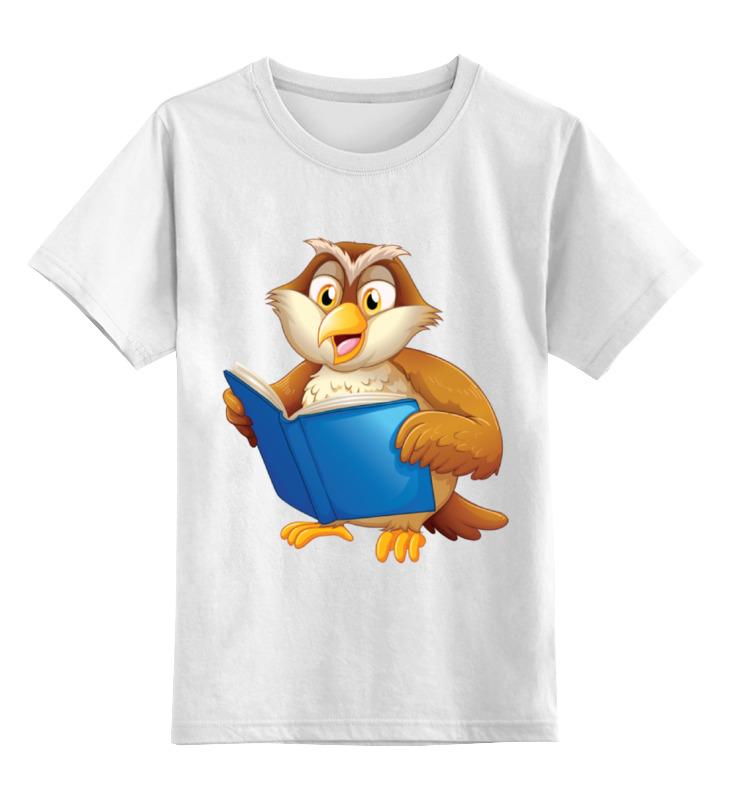 Купить 0000002199025, Детская футболка Printio Мудрая сова цв.белый р.164,