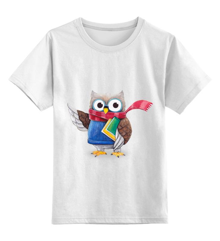 Купить 0000002199063, Детская футболка Printio Мудрая сова цв.белый р.164,