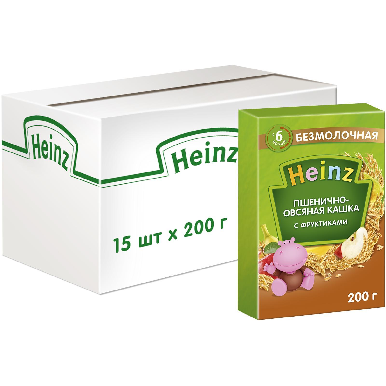 Каша безмолочная Heinz Пшенично-овсяная с фруктами с 6 мес. 200 г, 15 шт. фото