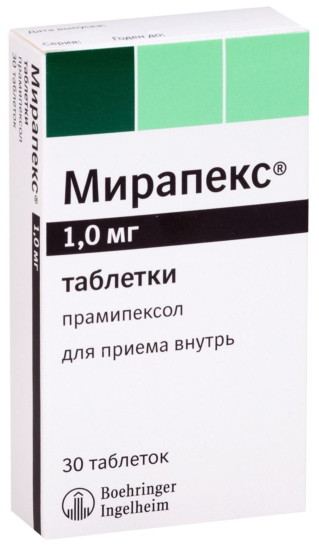 Мирапекс 1 мг таблетки 30 шт.