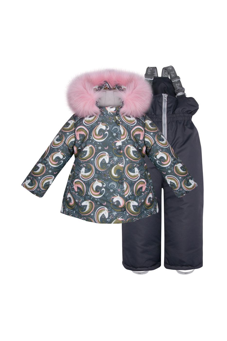 Комплект верхней одежды Zukka, цв. серый; розовый р. 98 фото