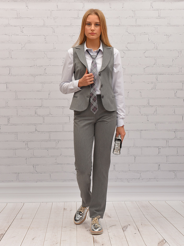 Купить Школьные брюки SkyLake ШФ-335 Диана цв. серый, р. 46/164, Брюки для девочек