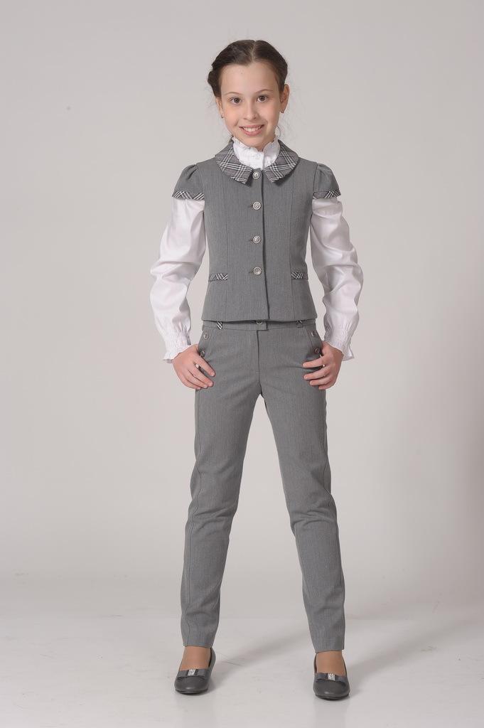 Купить Школьные брюки SkyLake ШФ-907 Диана флис цв. серый, р. 32/134, Брюки для девочек