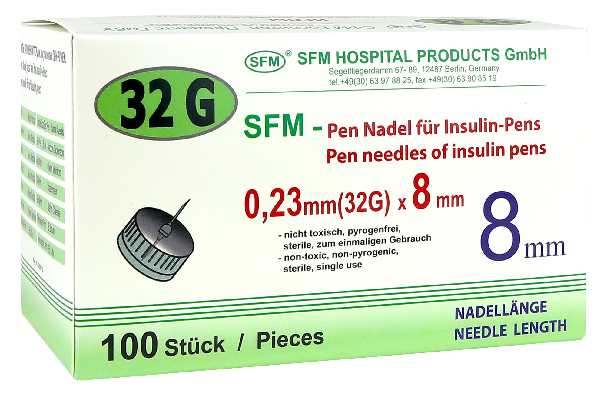 Купить Иглы для шприц ручек 32G 0, 23 х 8 мм 100 шт., SFM