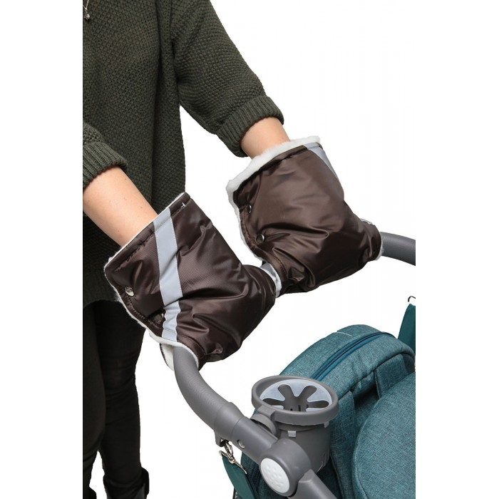 Купить Муфта Варежки Топотушки для прогулки для рук на ручку коляски коричневый,