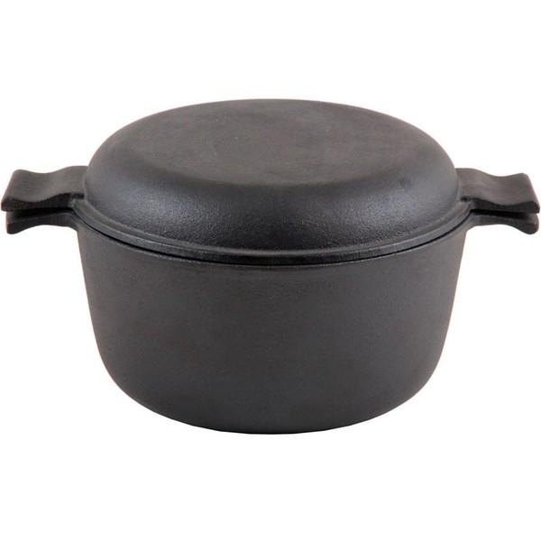 Кастрюля Mallony Чугунная с крышкой сковородкой 3л
