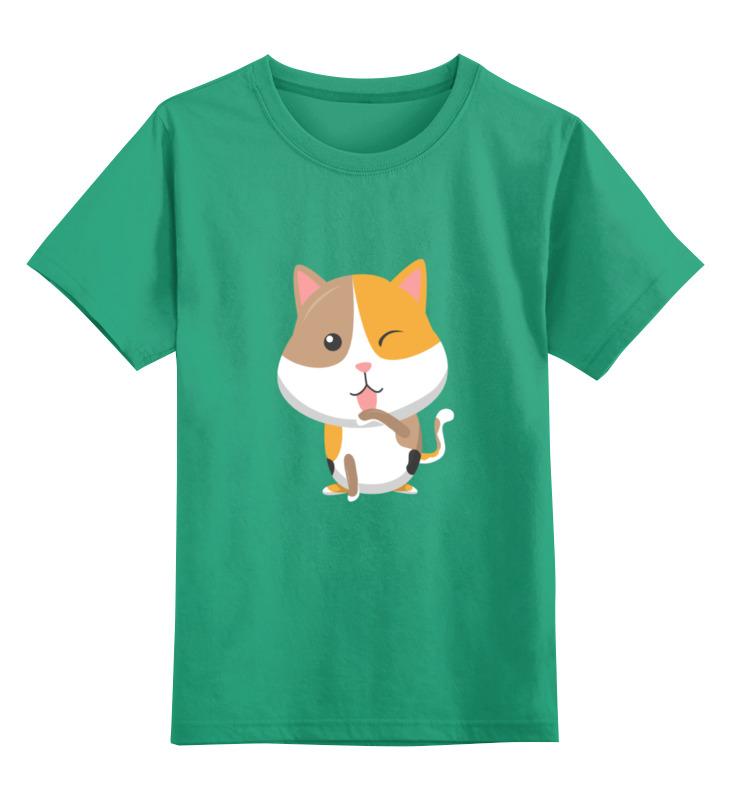Купить 0000002071978, Детская футболка Printio Котенок цв.зеленый р.152,