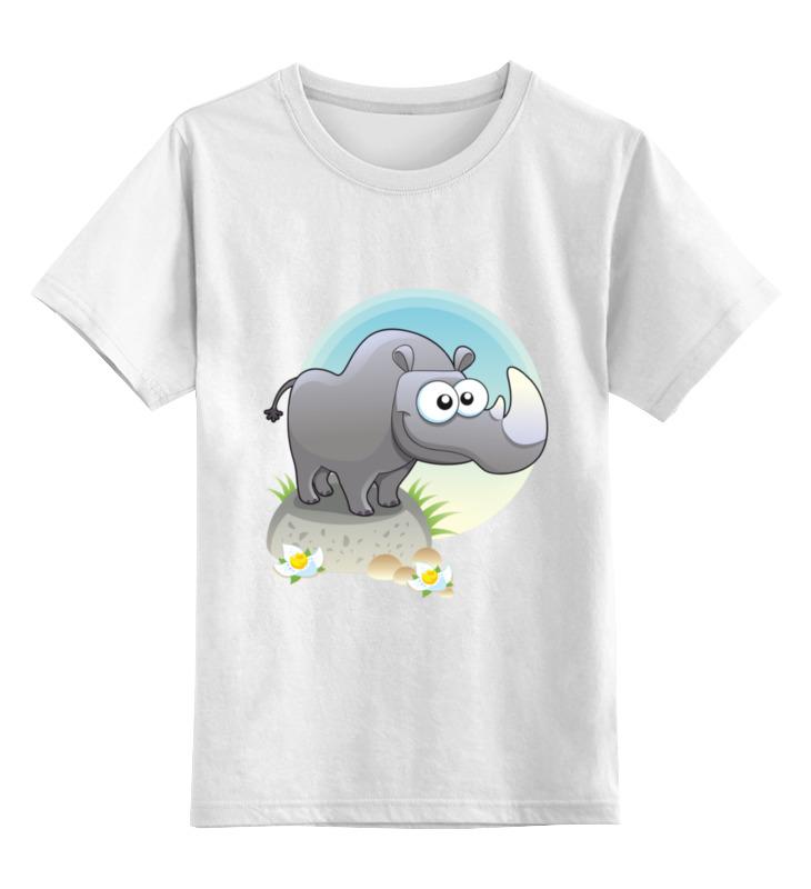 Детская футболка Printio Носорог цв.белый р.152 0000002173535 по цене 790