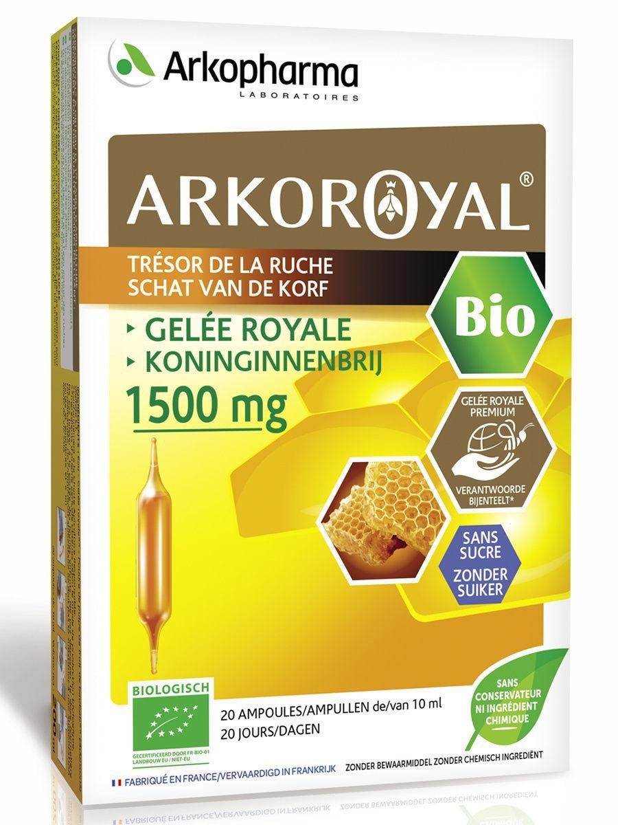 Купить Arkoroyal Gelee Royale 1500mg, Маточное молочко Arkopharma Arkoroyal Gelee Royal 1500 mg 10 мл ампулы 20 шт.