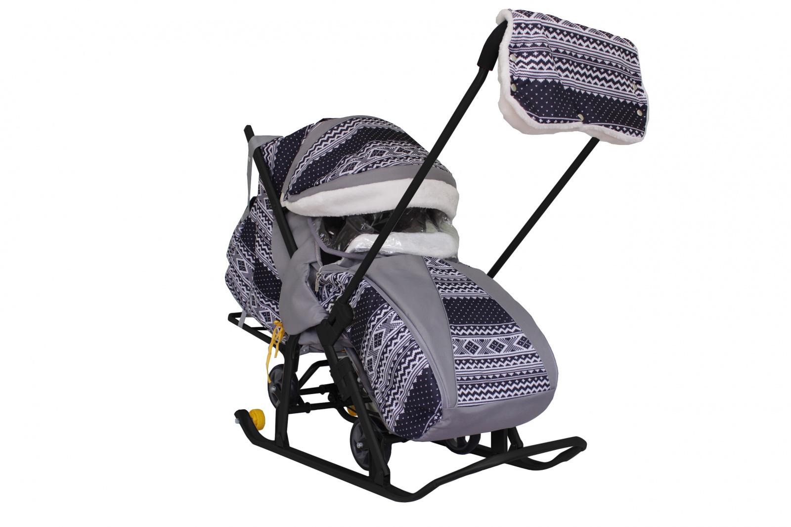 Купить Санки-коляска Galaxy Snow Luxe Финляндия черная,