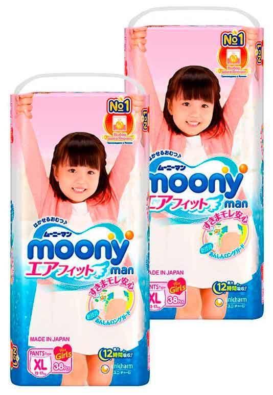 Подгузники-трусики MOONY для девочек XL (12-17 кг), 2x38 шт.